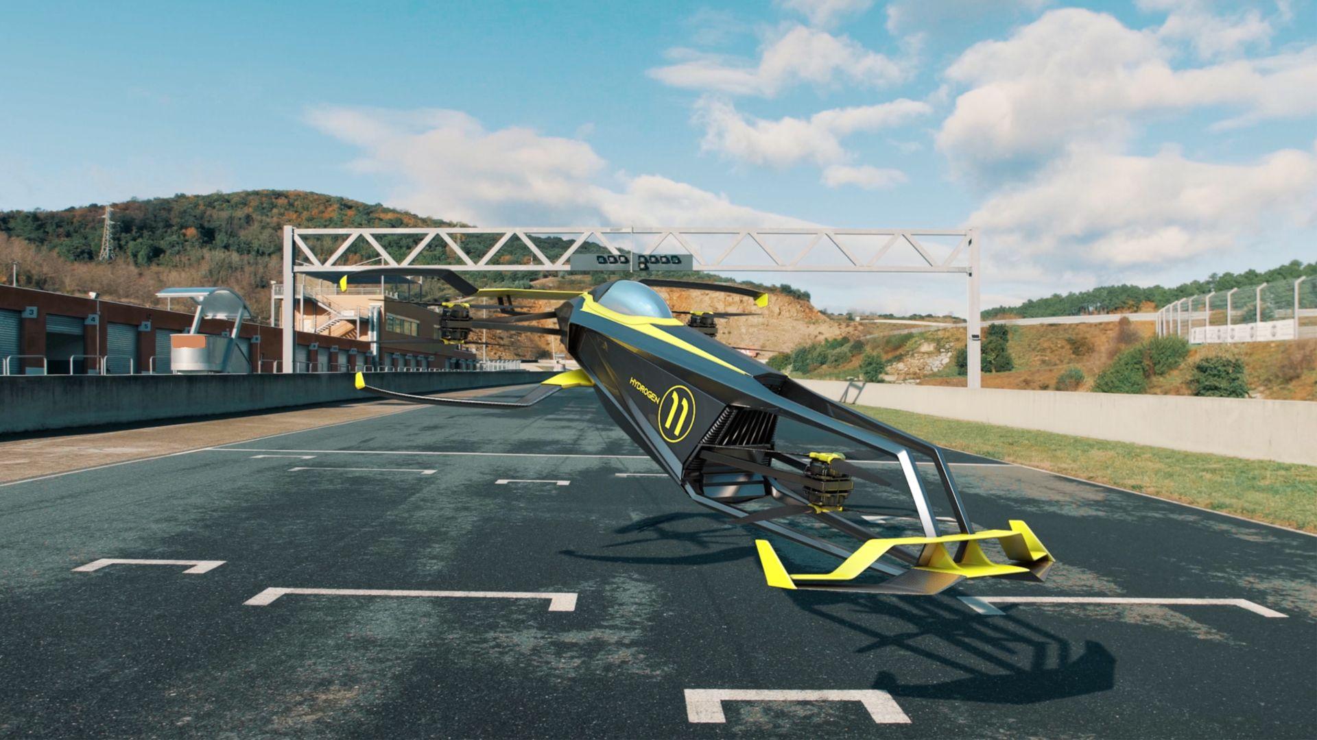 réalisation CarCopter, first hydrogen flying formula 1 - MACA